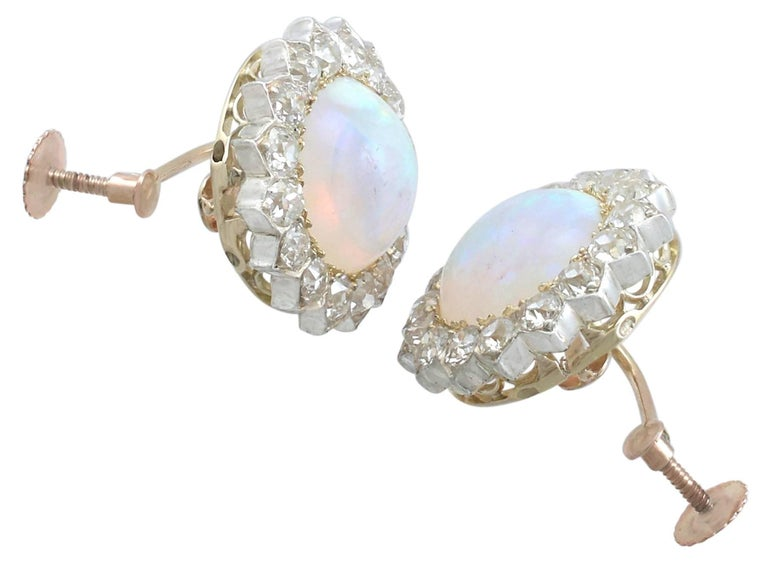Round Cut 1880s Victorian 7.76 ct Opal and 2.05 ct Diamond Yellow Gold Clip On Earrings For Sale
