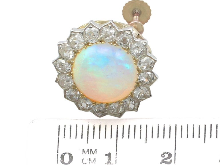 1880s Victorian 7.76 ct Opal and 2.05 ct Diamond Yellow Gold Clip On Earrings For Sale 2