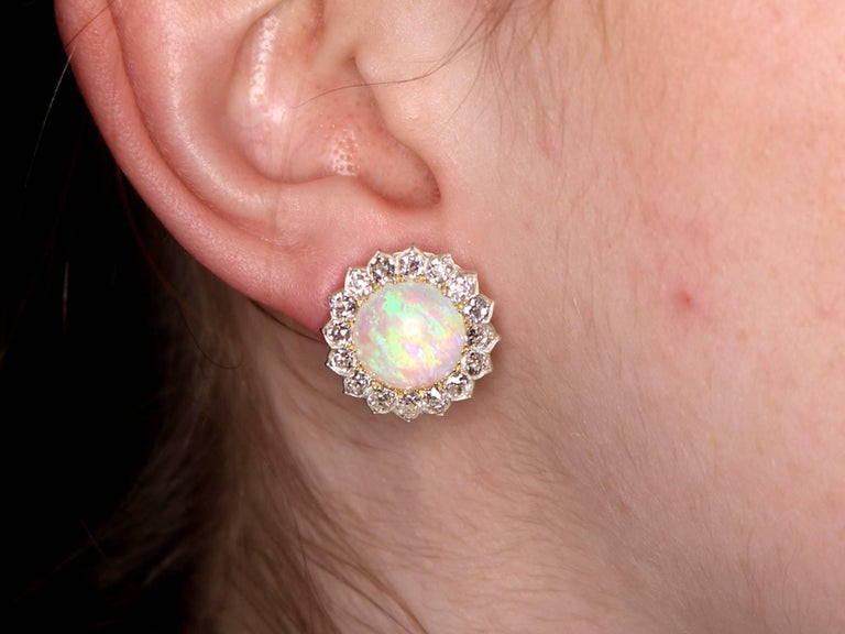 1880s Victorian 7.76 ct Opal and 2.05 ct Diamond Yellow Gold Clip On Earrings For Sale 4