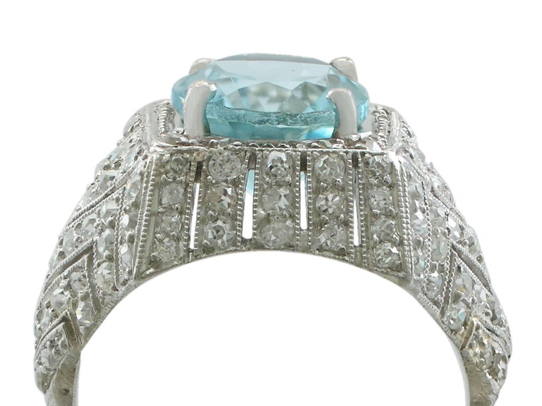 A stunning antique 4.78 carat aquamarine, 1.39 carat diamond and platinum dress ring; part of our diverse antique jewelry and estate jewelry collections  This stunning, fine and impressive aquamarine and diamond dress ring has been crafted in