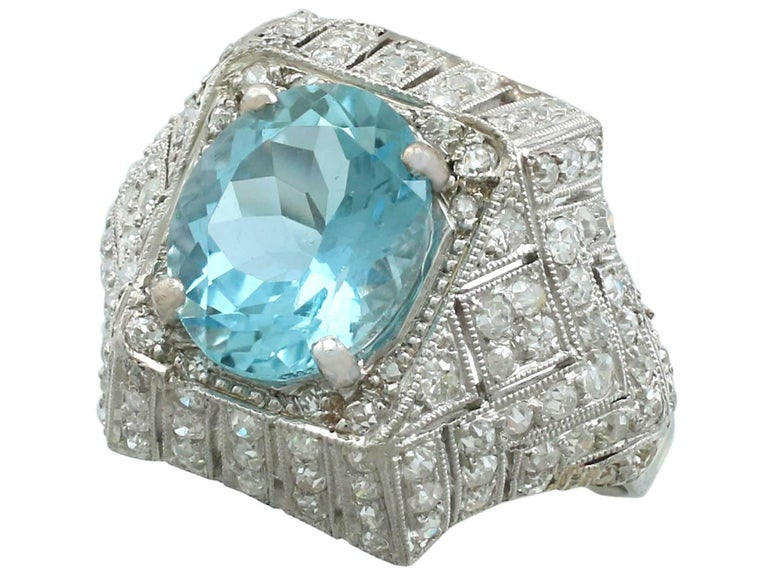 Oval Cut 1930s Aquamarine and  Diamond Platinum Dress Ring For Sale