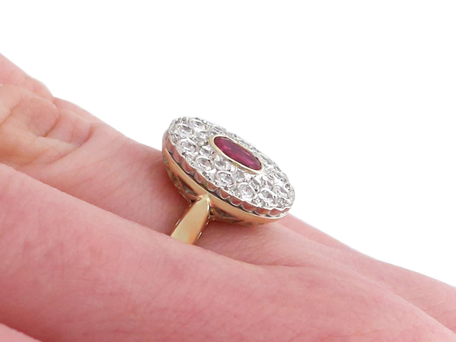 1950s Ruby and Diamond Yellow Gold Cluster Ring For Sale at 1stdibs