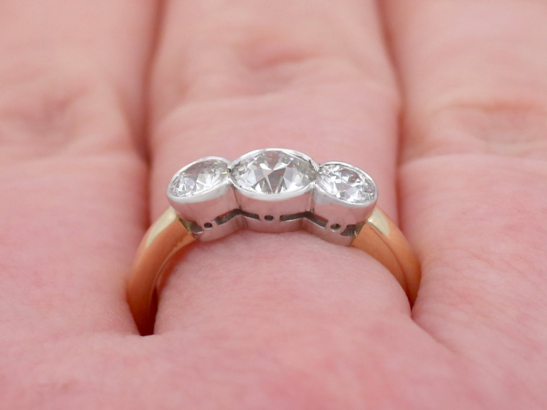 Antique and Contemporary 1.69 Carat Diamond and Yellow Gold Trilogy ...