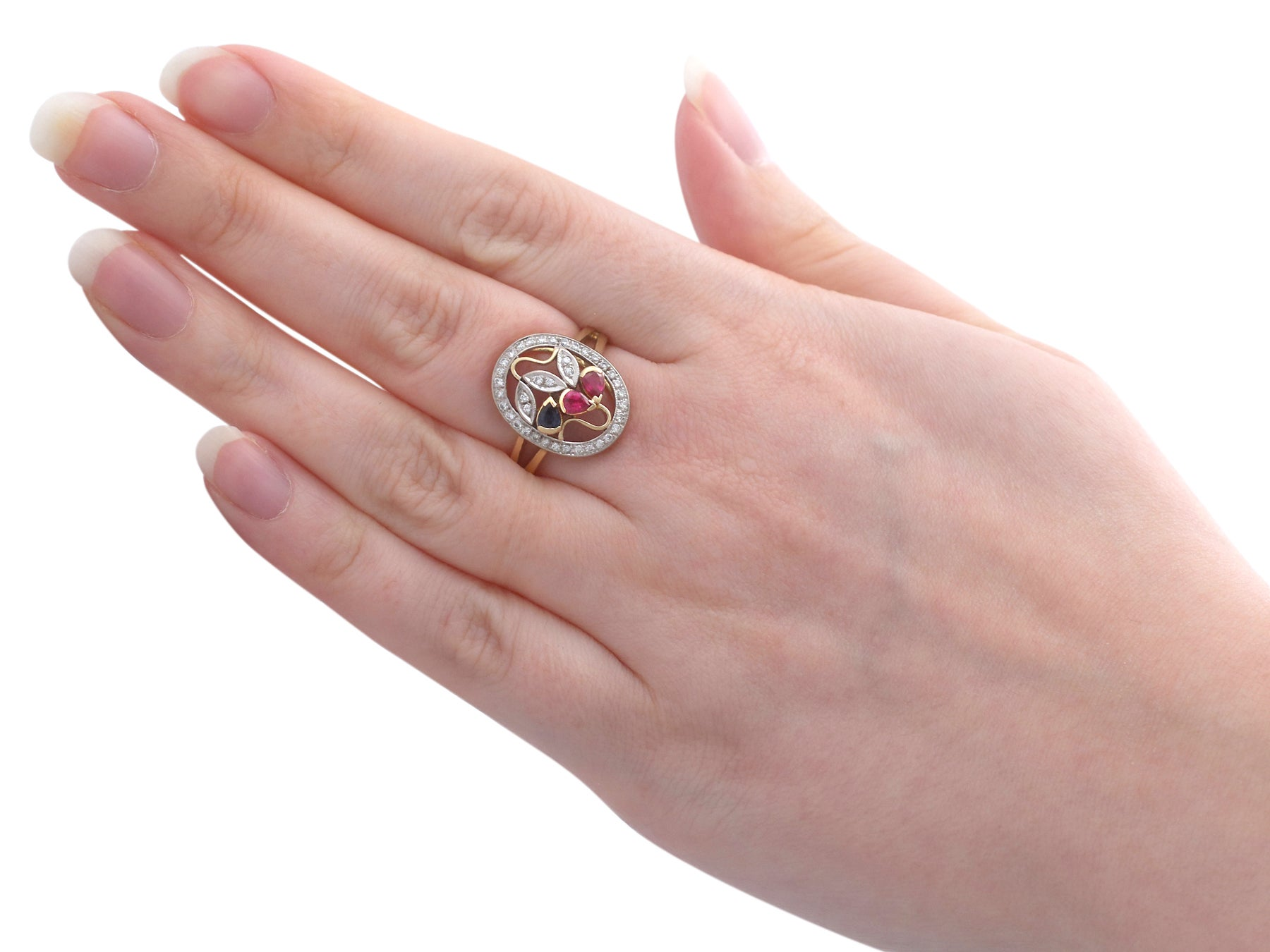 1940s Ruby Sapphire and Diamond and Yellow Gold Dress Ring For Sale ...
