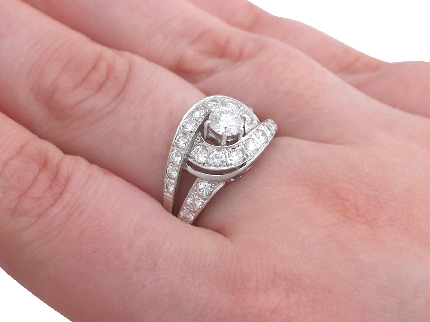 1960s German 1.88 Carat Diamond and White Gold Dress Ring at 1stdibs
