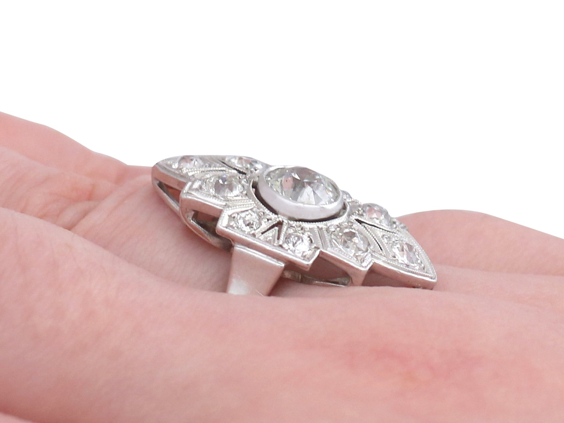 Art Deco 1.91 Carat Diamond and White Gold, Platinum Set Marquise ...