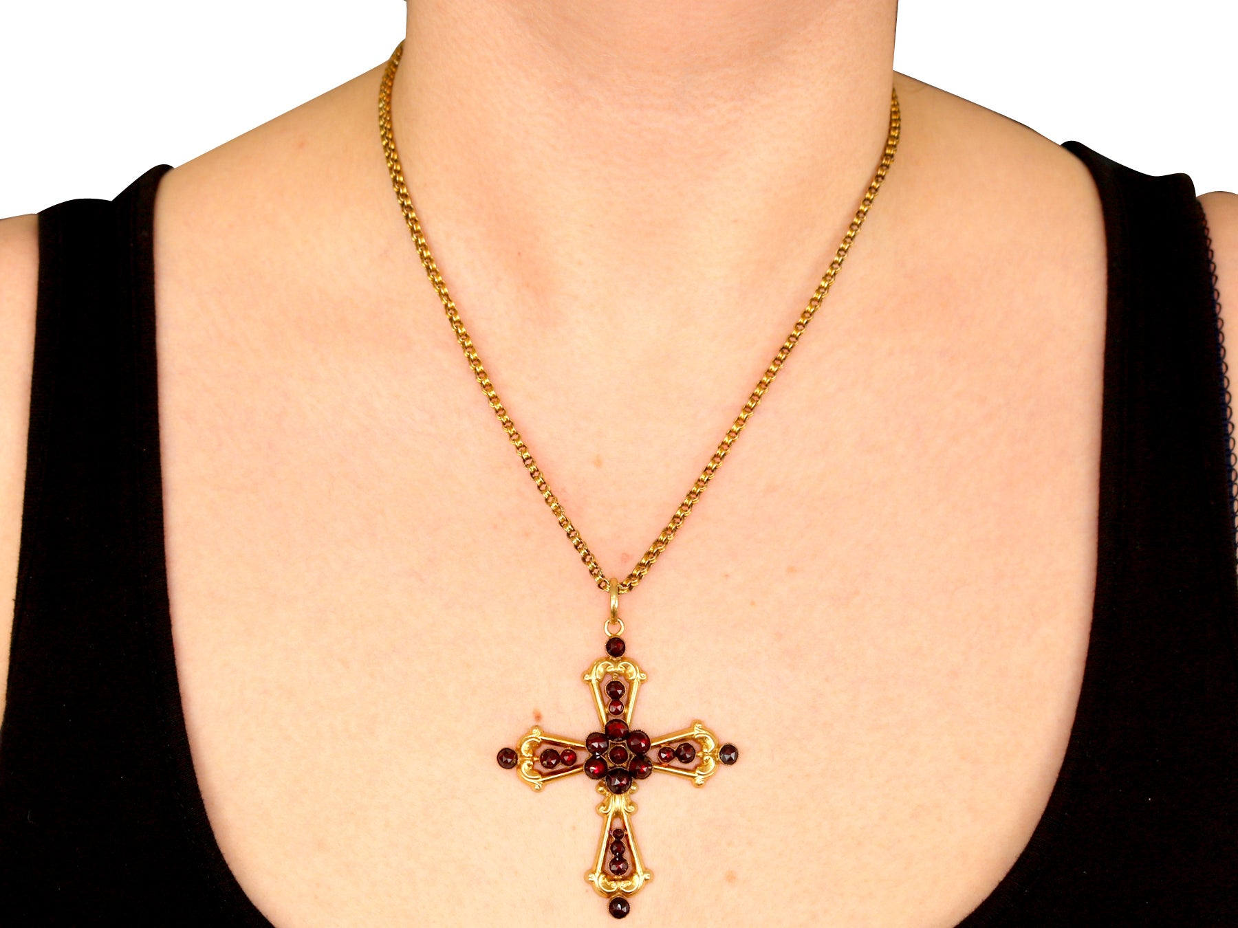 1890s Victorian Garnet Yellow Gold Cross Pendant For Sale at 1stdibs