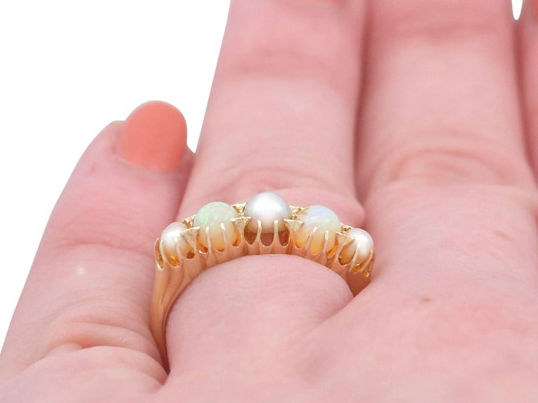 1863 Antique Opal and Pearl, Yellow Gold Dress Ring For Sale 4