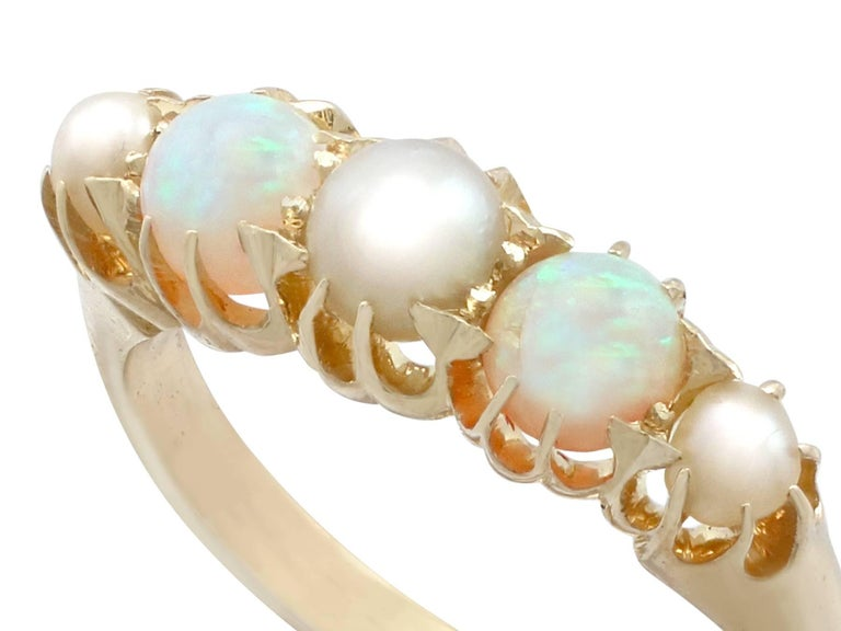 Victorian 1863 Antique Opal and Pearl, Yellow Gold Dress Ring For Sale