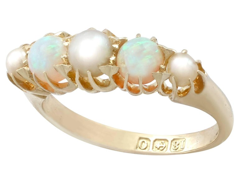 1863 Antique Opal and Pearl, Yellow Gold Dress Ring In Excellent Condition For Sale In Jesmond, Newcastle Upon Tyne