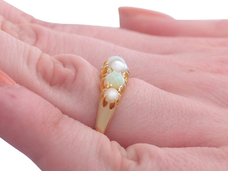 1863 Antique Opal and Pearl, Yellow Gold Dress Ring For Sale 3