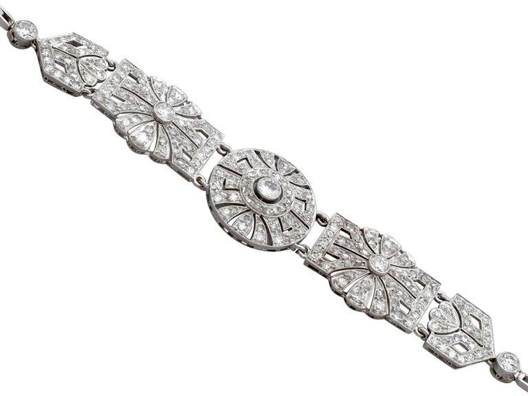 Women's 1940s Art Deco 4.48 Carat Diamond and Platinum Bracelet For Sale