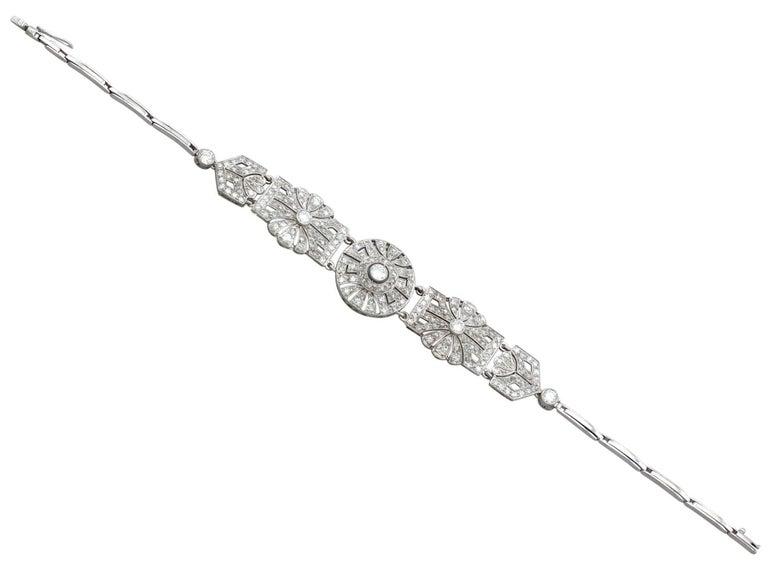 Round Cut 1940s Art Deco 4.48 Carat Diamond and Platinum Bracelet For Sale