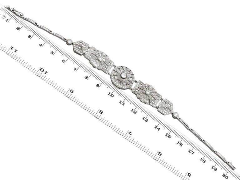 1940s Art Deco 4.48 Carat Diamond and Platinum Bracelet For Sale 3