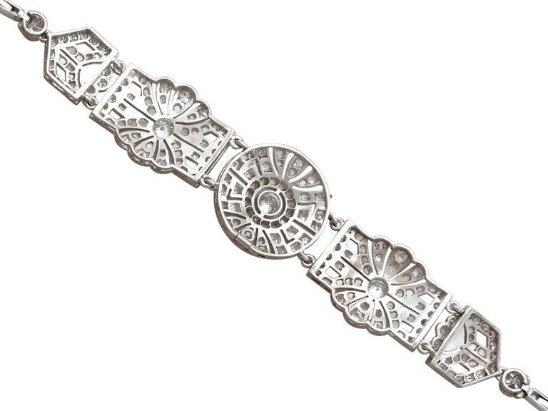 1940s Art Deco 4.48 Carat Diamond and Platinum Bracelet For Sale 2