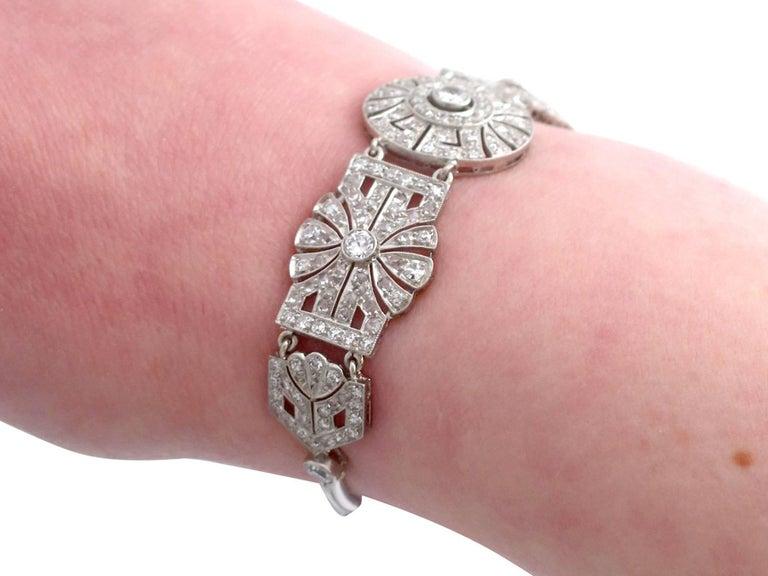 1940s Art Deco 4.48 Carat Diamond and Platinum Bracelet For Sale 6