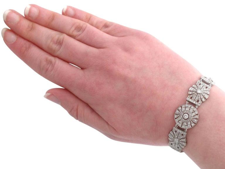 1940s Art Deco 4.48 Carat Diamond and Platinum Bracelet For Sale 5