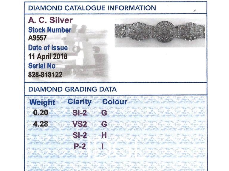 1940s Art Deco 4.48 Carat Diamond and Platinum Bracelet For Sale 4