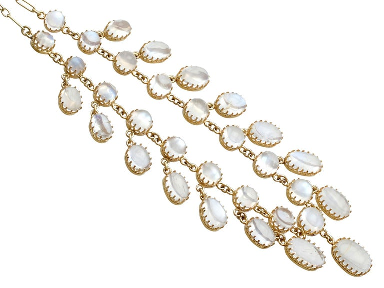 Antique 42.20 Carat Moonstone and Yellow Gold Necklace In Excellent Condition For Sale In Jesmond, Newcastle Upon Tyne