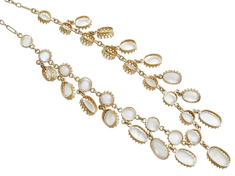 Women's Antique 42.20 Carat Moonstone and Yellow Gold Necklace For Sale