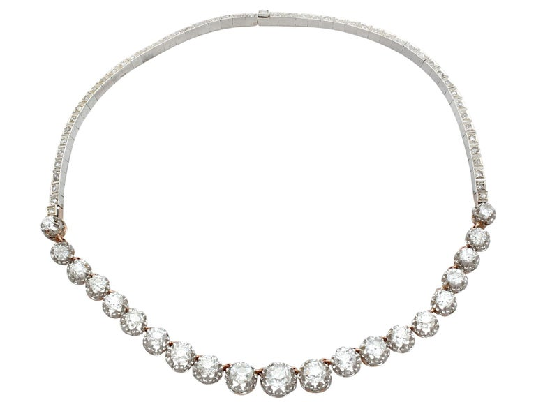 A stunning versatile antique French 11.12 carat diamond and 18 carat and 14 carat yellow gold, platinum and silver set necklace / bracelet; part of our diverse antique jewellery and estate jewelry collections.  This stunning, fine and impressive