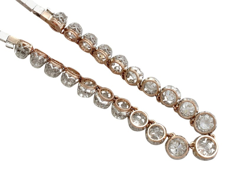 Antique French 11.12 Carat Diamond Yellow Gold, Platinum Set Necklace For Sale 1