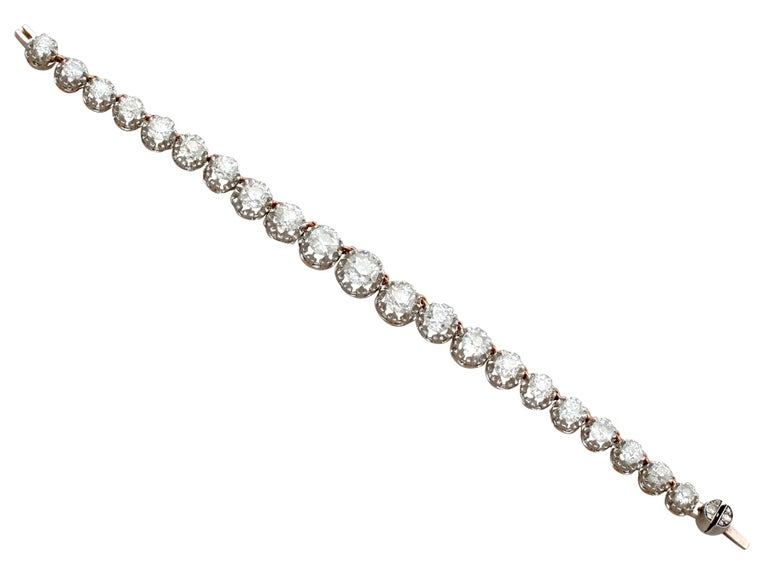 Antique French 11.12 Carat Diamond Yellow Gold, Platinum Set Necklace For Sale 6