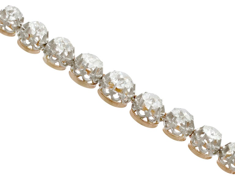 Antique French 11.12 Carat Diamond Yellow Gold, Platinum Set Necklace For Sale 7