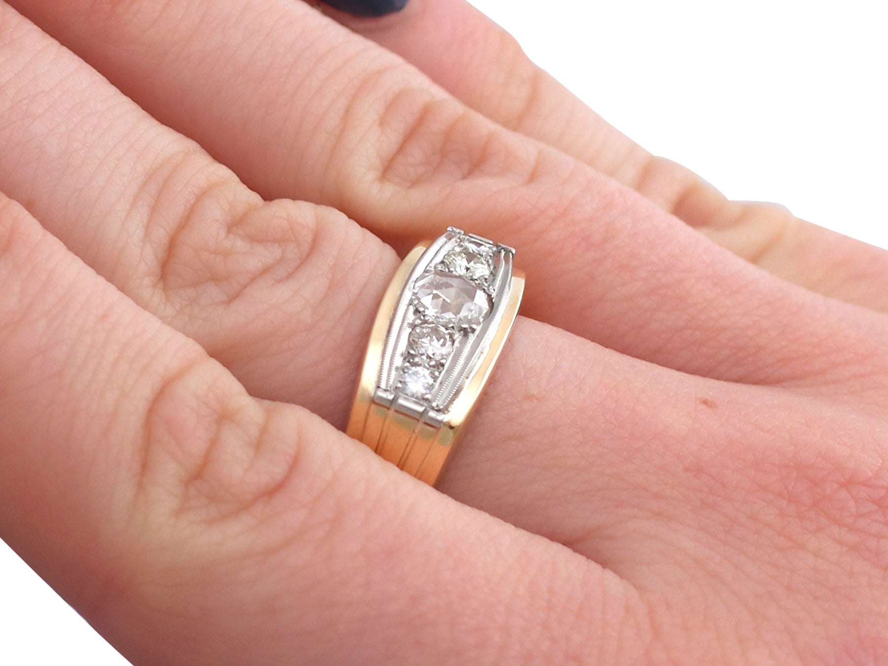 1950s Diamond and Yellow Gold, White Gold Dress Ring For Sale at 1stdibs