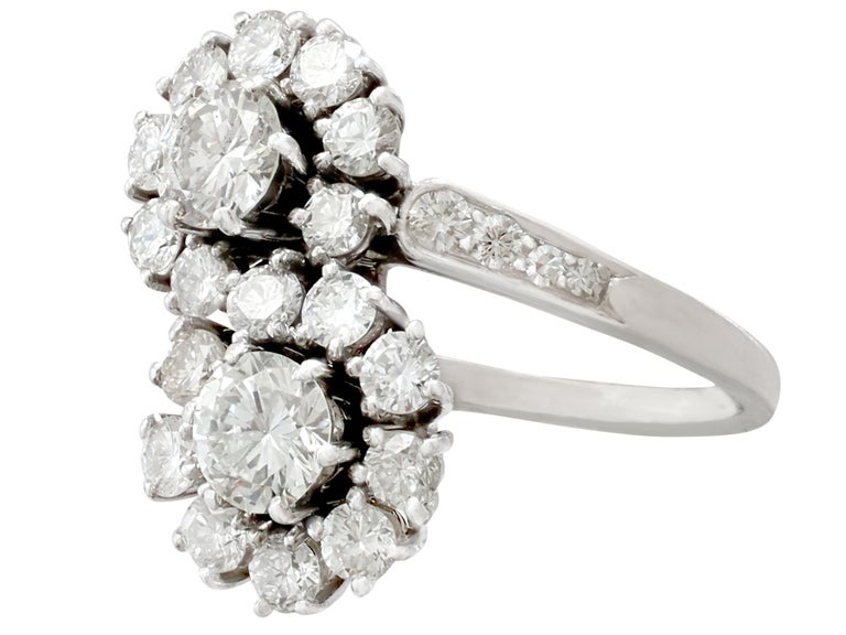 Women's 1970s 2.40 Carat Diamond and White Gold Twist Ring For Sale