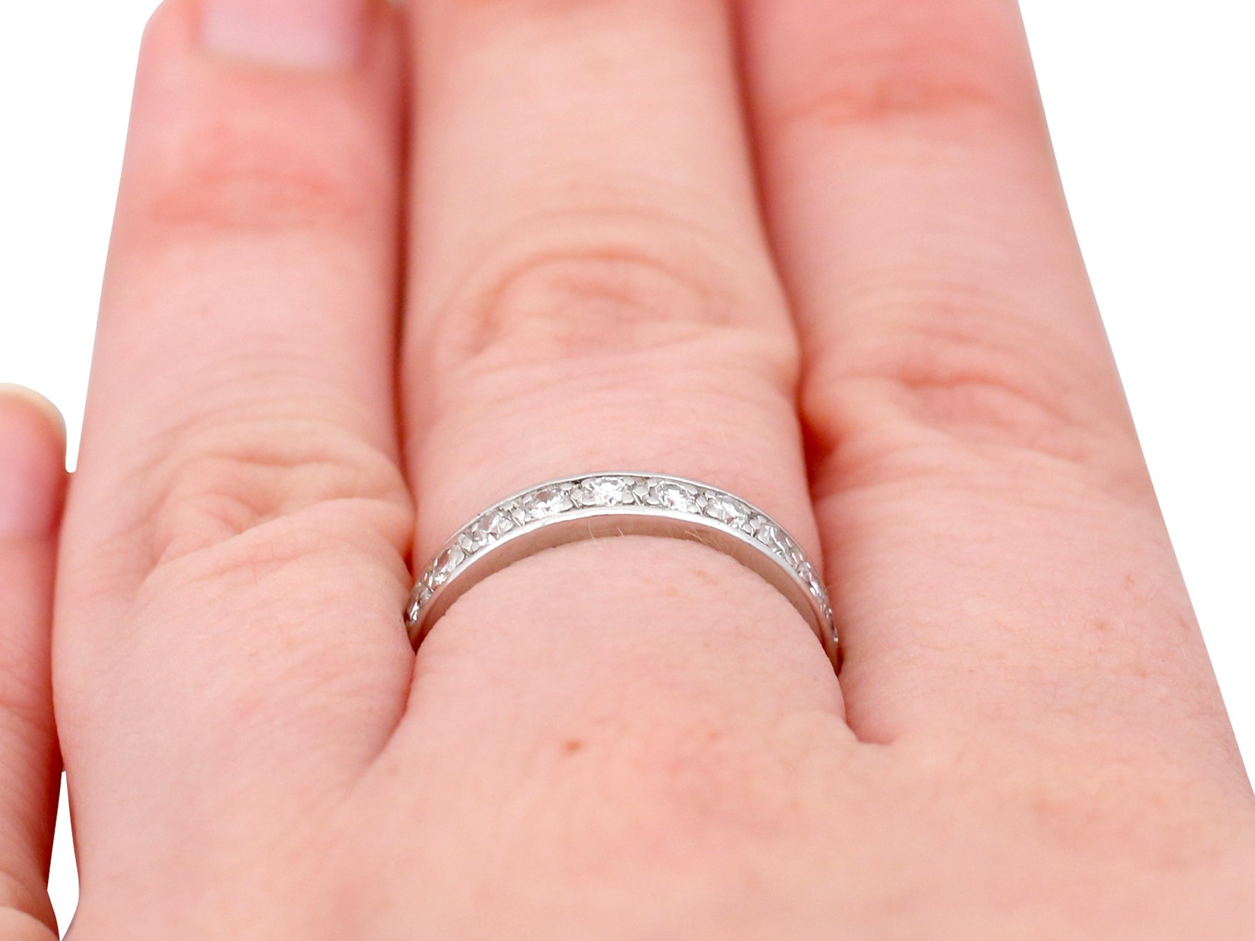 1950s French Diamond and Platinum Full Eternity Ring For Sale at 1stdibs