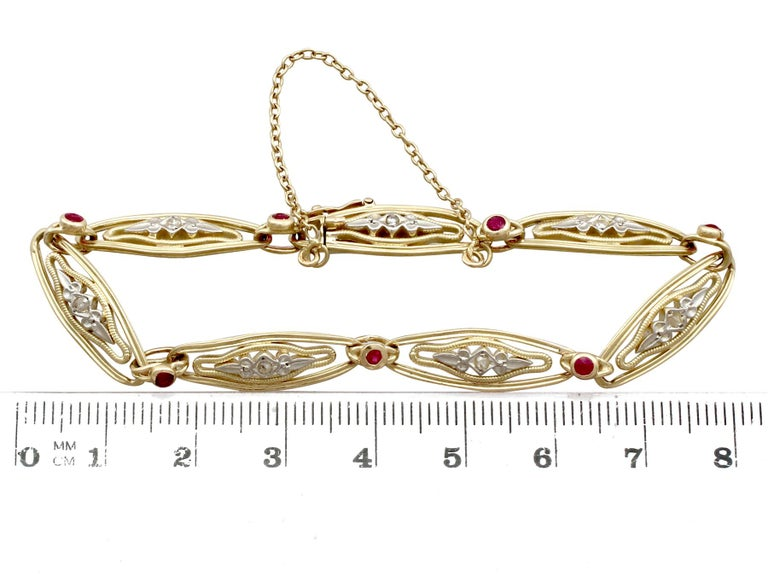 1950s French Ruby and Diamond Gold Bracelet For Sale 4