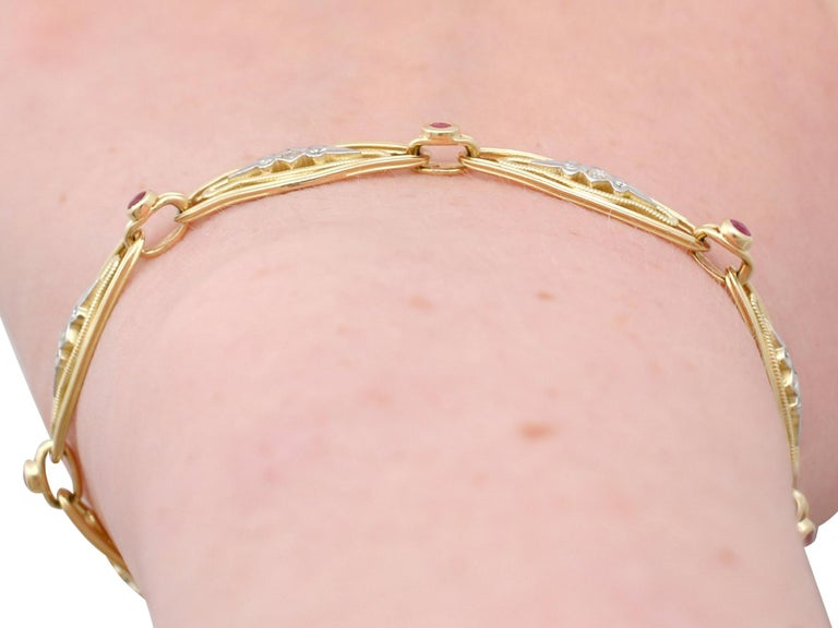 1950s French Ruby and Diamond Gold Bracelet For Sale 8