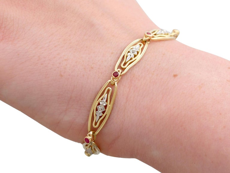 1950s French Ruby and Diamond Gold Bracelet For Sale 7