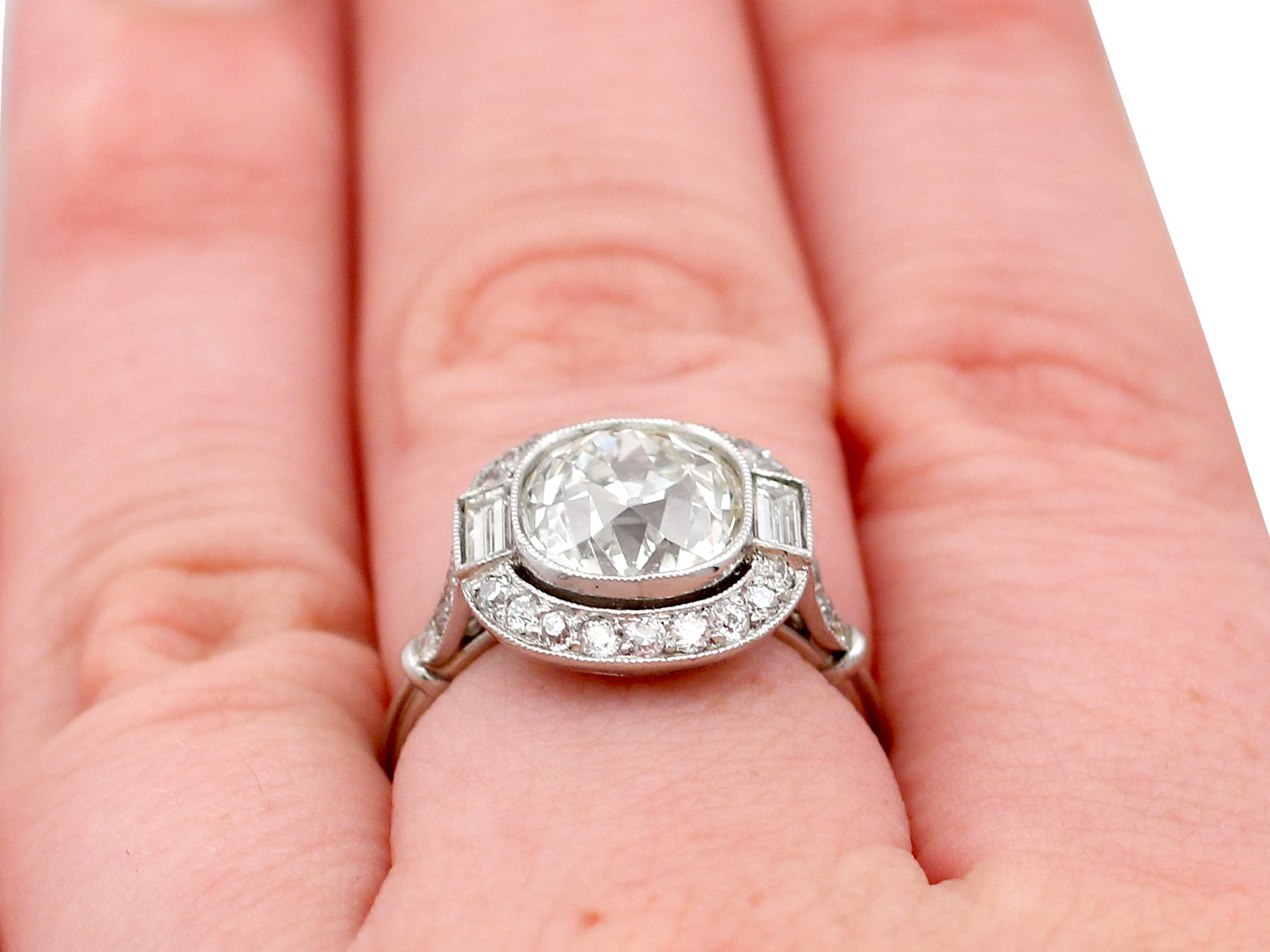 4.23 Carat Diamond and Platinum Halo Engagement Ring For Sale at 1stdibs