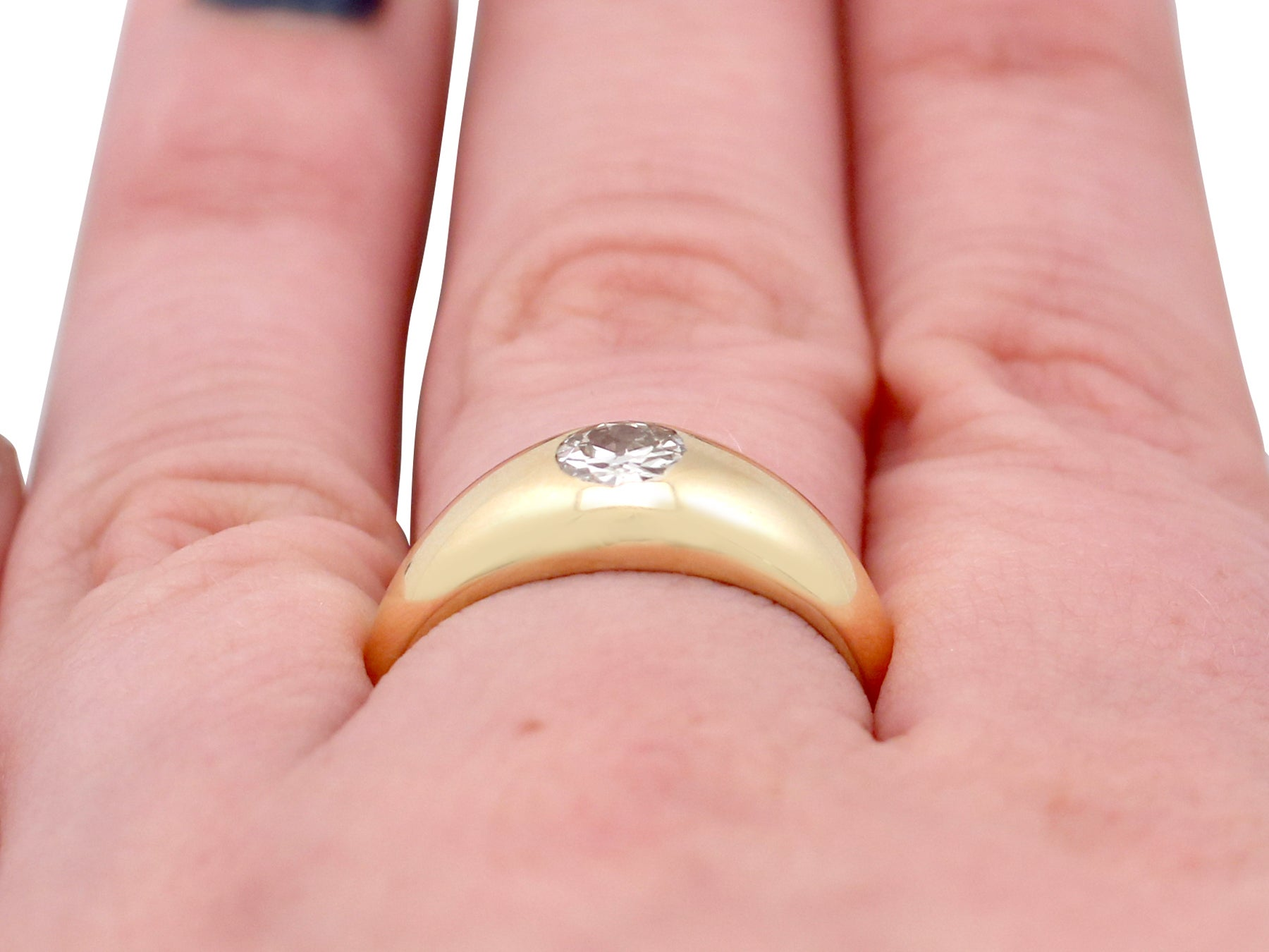 1900s Diamond Yellow Gold Gent\'s Ring For Sale at 1stdibs
