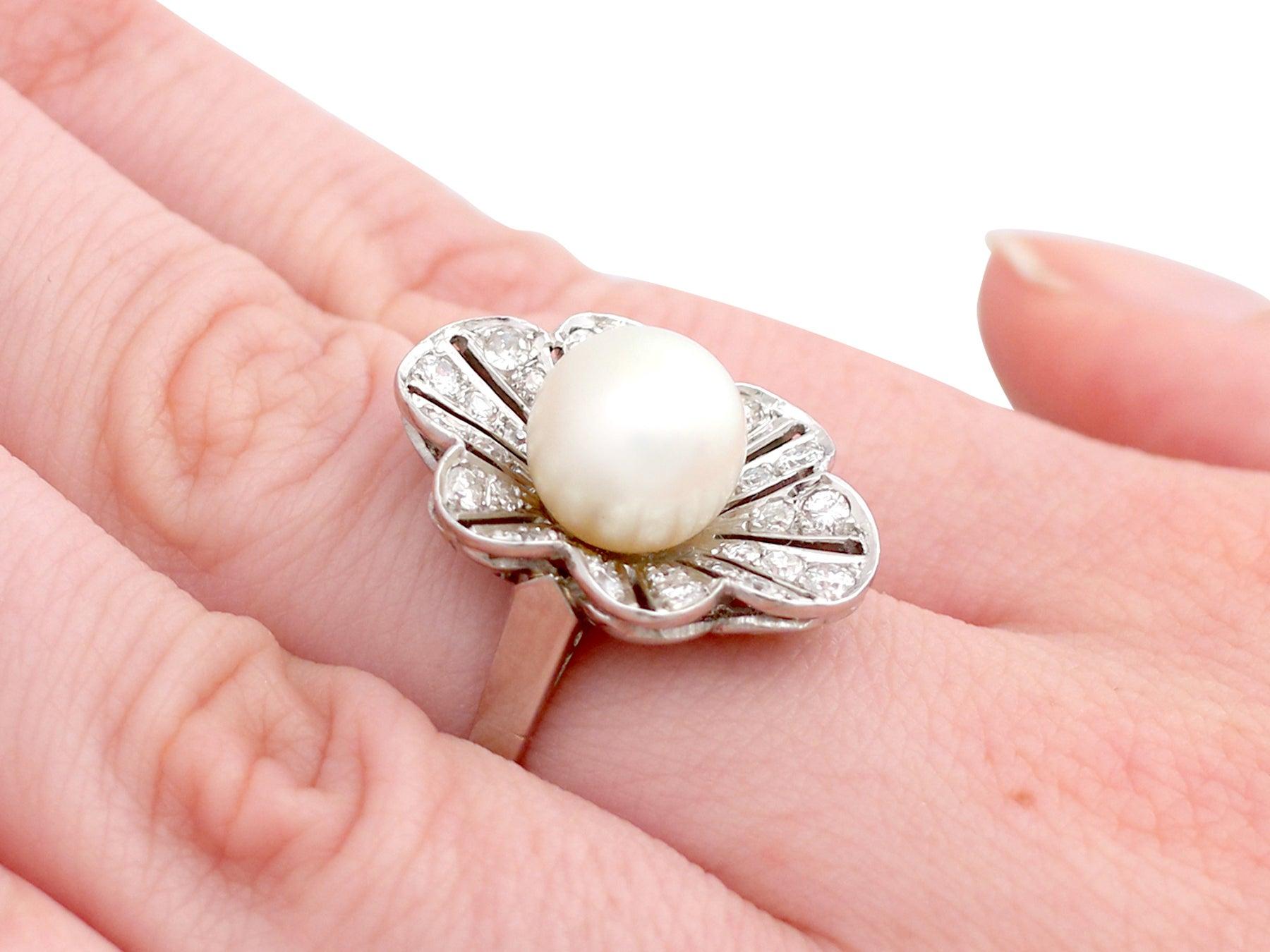 1950s Cultured Pearl and 1.02 Carat Diamond Platinum Cluster Ring ...