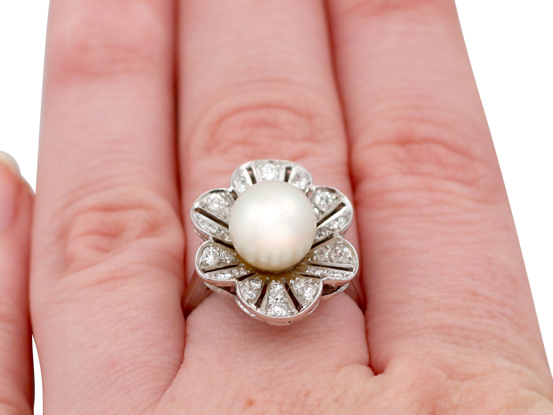 1950s Cultured Pearl and 1.02 Carat Diamond Platinum Cluster Ring ...