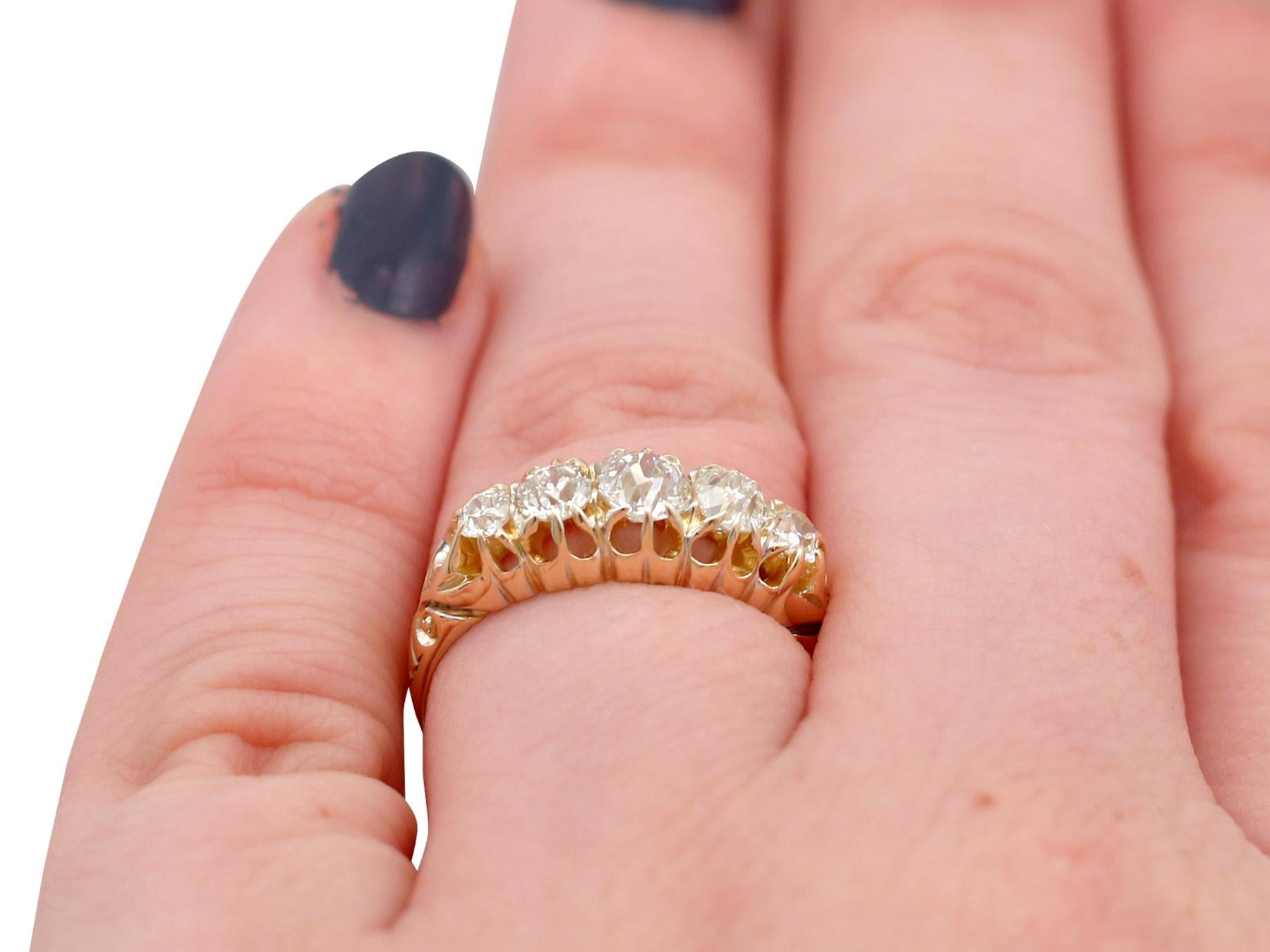 Victorian 1.36 Carat Diamond Gold Five-Stone Ring For Sale at 1stdibs