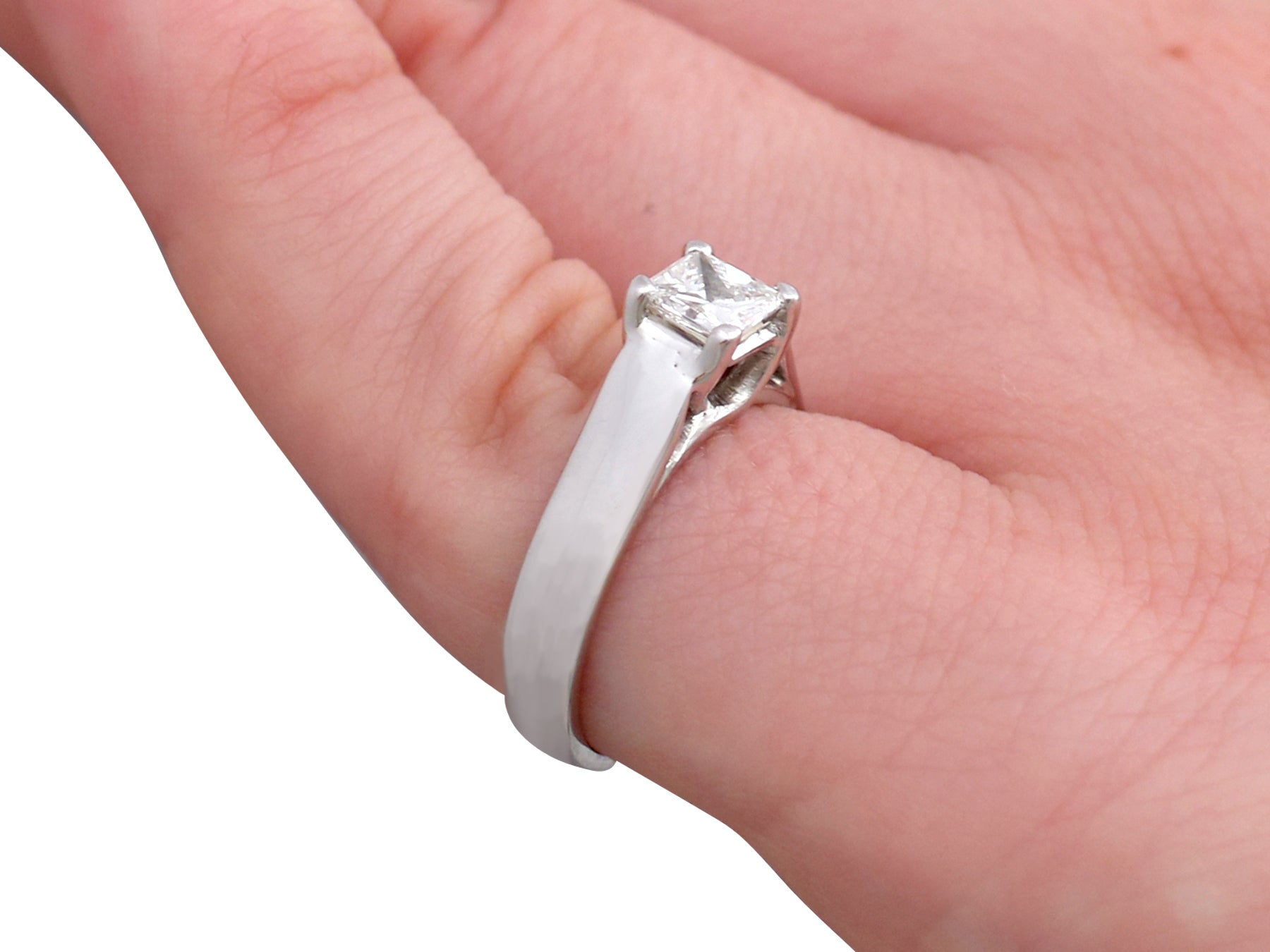 1990s Diamond White Gold Solitaire Engagement Ring For Sale at 1stdibs