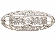 1940s Art Deco Style  Diamond and White Gold Brooch