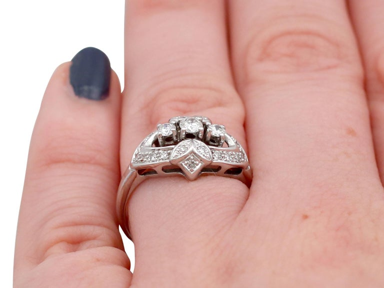 Vintage 1950s Diamond and White Gold Cocktail Ring  For Sale 4