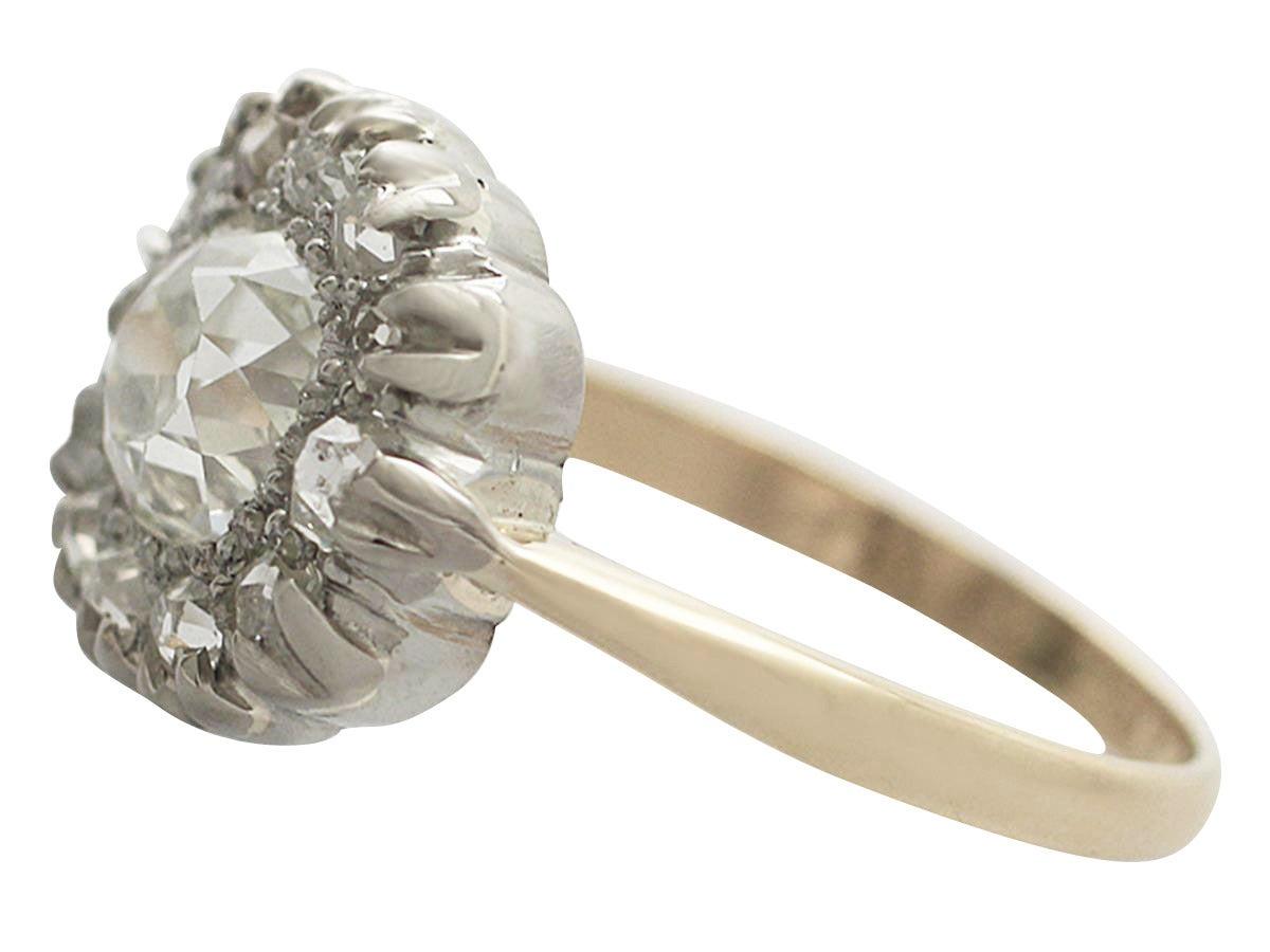 Victorian 1.63 Carat Diamond Gold Platinum Cluster Ring In Excellent Condition For Sale In Jesmond, GB
