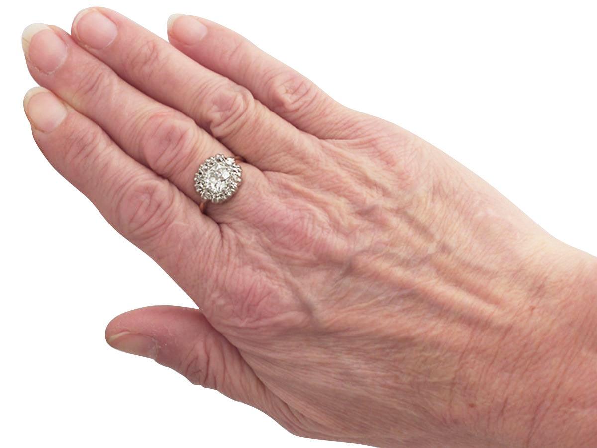 Victorian 1.63 Carat Diamond Gold Platinum Cluster Ring For Sale 2