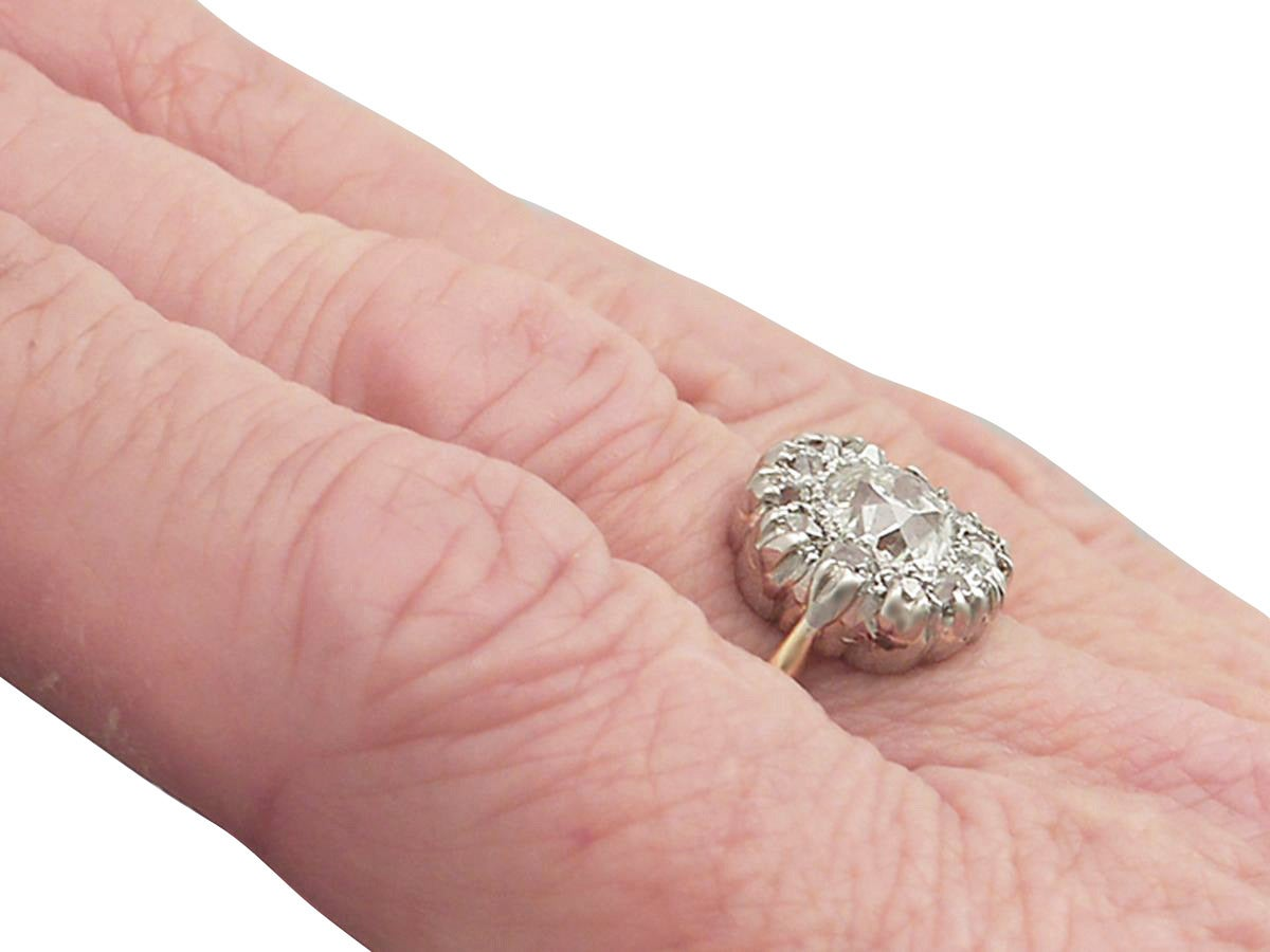Victorian 1.63 Carat Diamond Gold Platinum Cluster Ring For Sale 3