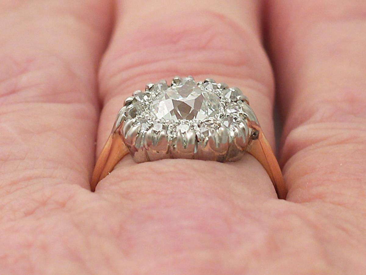 Victorian 1.63 Carat Diamond Gold Platinum Cluster Ring For Sale 4
