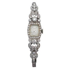 Hamilton Lady's Platinum Diamond Art Deco Cocktail Wristwatch