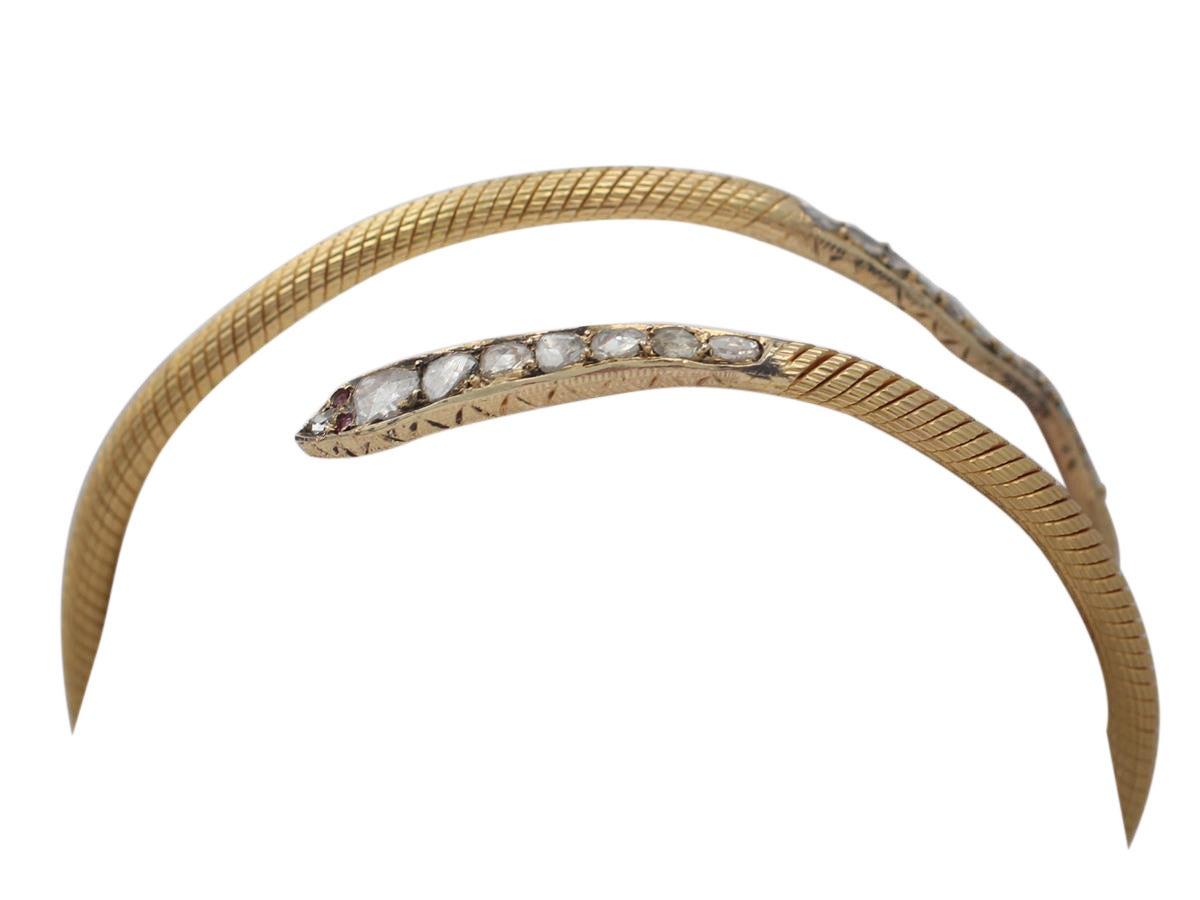 2.05Ct Diamond & Ruby, 22k Yellow Gold 'Snake' Bangle - Antique Egyptian C1860 2