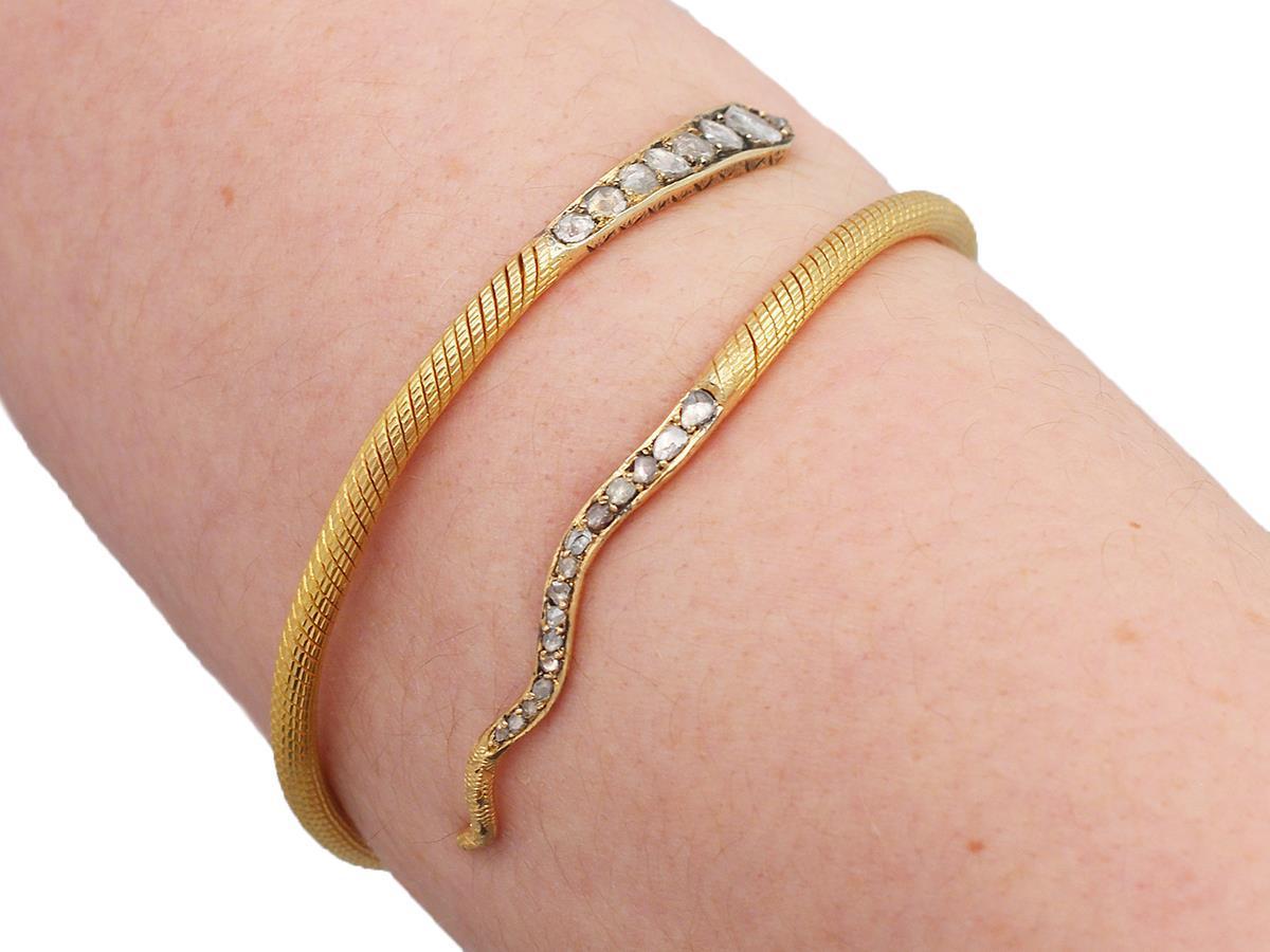 2.05Ct Diamond & Ruby, 22k Yellow Gold 'Snake' Bangle - Antique Egyptian C1860 6