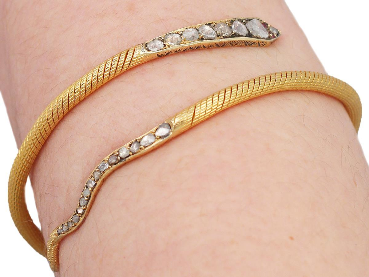 2.05Ct Diamond & Ruby, 22k Yellow Gold 'Snake' Bangle - Antique Egyptian C1860 7